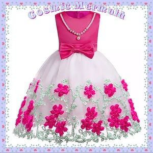 Other - Pink🆕💕Floral Princess Pearls & Bow Tutu Dress💕
